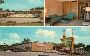 Fort Smith Arkansas~Holiday Inn South~Room Interior~Pool~1950s Cars~Postcard