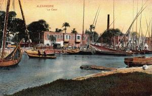 Egypt Alexandrie Le Canal River Harbour Fishing Boats Postcard