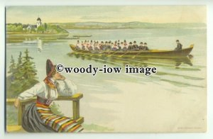 ft1457 - Netherlands - Woman watching rowers - Early artist drawn postcard