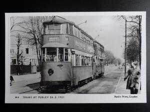 London Tram TRAMS AT PURLEY 1951 Pamlin Print Postcard M4