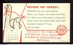 Hagerstown, MD USA - SHELL OIL logo - ribbon tied on finger 1957 April calendar