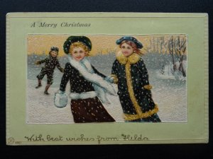 A MERRY CHRISTMAS Children Playing in Snow c1903 UB Embossed Postcard by VW