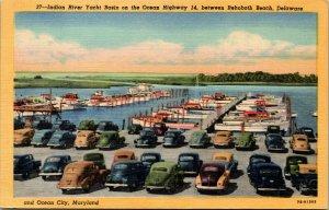 Vtg 1940s Indian River Yacht Basin Marina Rehoboth Delaware DE Linen Postcard