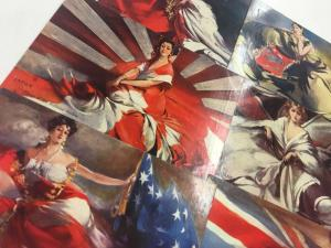 Group Of 6 International Ladies Beauty Women Country Flag Postcards K99828