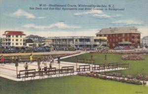 New Jersey Wildwood Shuffleboard Courts Sun Deck & Sun Dial Apartments 1949 C...