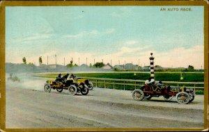 IMV01457 auto race old cars oldtimers vintage costumes 1909 germany postcard