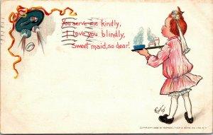 Artist Signed E. Curtis, Serve me kindly maid Postcard 1905 - Tuck - Vintage
