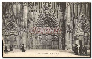 Old Postcard Strasbourg La Cathedrale Children