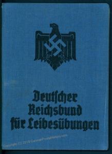 3rd Reich 1937 1938 Deutscher Reichsbund fuer LeibesuebungenMembership Boo 78856