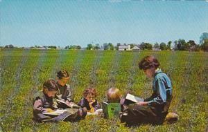 Greetings From The Pennsylvania Dutch Country Group of Amish Children Reading...
