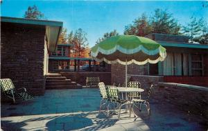 Gatlinburg Tennessee~Bon Air Motel~Patio Umbrella~1950s Postcard