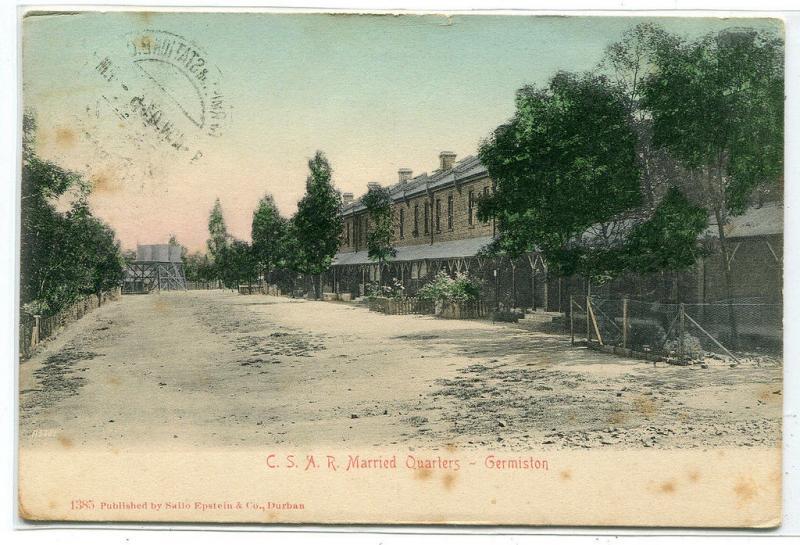 CSAR Railways Married Quarters Germiston South Africa 1908 postcard