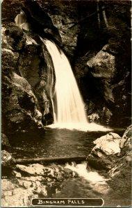 Vintage Echt Foto Post Karte RPPC - Bingham Falls Stowe, VT