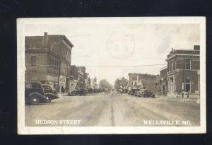 RPPC WELLSVILLE MISSOURI DOWNTOWN HUDSON STREET SCENE REAL PHOTO POSTCARD