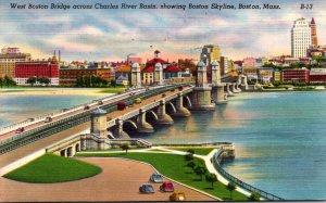 Massachusetts Boston West Boston Bridge Across Charles River Basin 1950