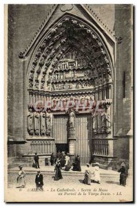 Old Postcard Amiens Cathedral Output Mass at the portal of the Virgin gilded