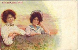 Vintage Postcard Sisters Behind a Garden Wall Beautiful Edwardian Women