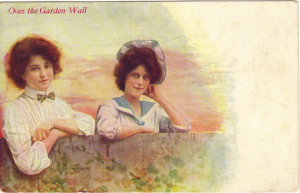Vintage Postcard Ladies Maidens Garden Wall