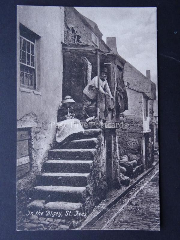 Cornwall ST. IVES Fishermen's Quarters IN THE DIGEY Old Postcard by Valentine