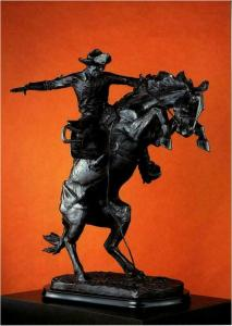 Postcard of The Bronco Buster by Frederic Remington Bronze Sculpture