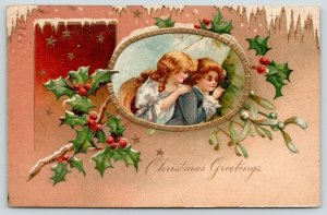 Clapsaddle Christmas~Victorian Boy & Girl Inset~Holly Berry~Snow Border~Emboss
