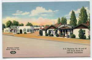 Columbine Motel US Highway 85 87 Denver Colorado 1950 linen postcard