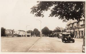 Stonecot Hill Sutton Croydon Black Taxi Newsagents Real Photo Old Postcard