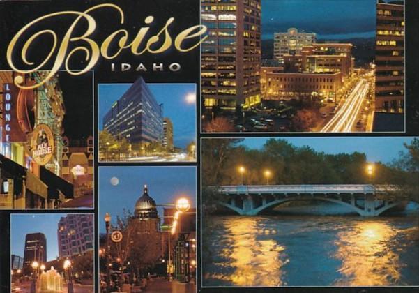 Idaho Boise At Night Multi View