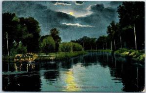 Cedar Point, Ohio Postcard Moonlight on the Lagoon Boating Scene 1911 Cancel