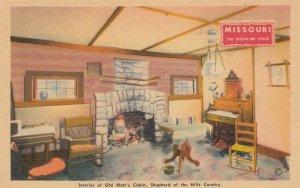 BRANSON, Missouri,1930-1940s ; Interior of Old Matt's Cabin, Shepherd of the ...