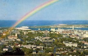 HI - Honolulu and Harbor with Rainbow
