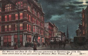 New Jersey Trenton Corner Of Warren & State Street At Night sk1977