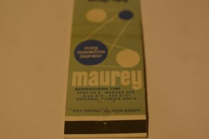 Maurey Manufacturing Corp. Chicago Illinois 20 Strike Matchbook Cover