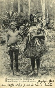 indonesia, MENTAWAI MENTAWEI, Native Youth in Traditional Costumes 1908 Postcard