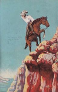 Cowboy Riding Horse Trail Of Life by Cowboy Artist L H Dude Larsen 1948
