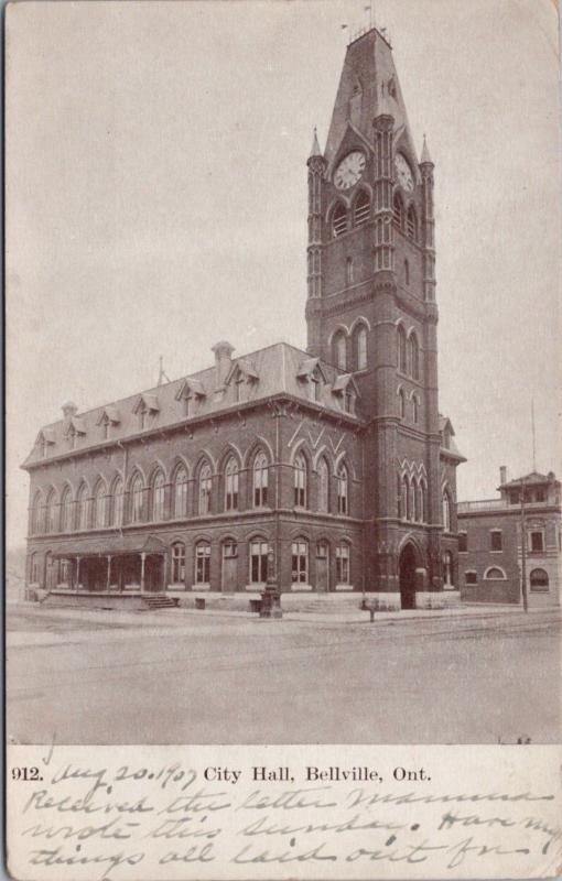 City Hall Belleville Ontario ON Ont. c1907 Antique Postcard E24