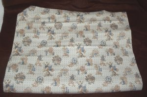Vintage By th Yard Wall Paper Covering Vinyl Kitchen Colonial Blue Brown Country