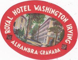 Spain Alhambra Royal Hotel Washington Irving Vintage Luggage Label sk4540