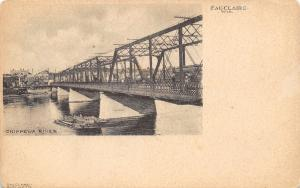 Eau Claire Wisconsin~Chippewa River Trolley Bridge~Veasey's Photo Studio~1905 PC
