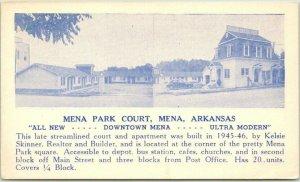 MENA, Arkansas Postcard MENA PARK COURT Highway 71 Roadside c1940s UNUSED
