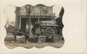 Grand Rapids MI Blanchard & Snow House Cleaning Horse & Wagon Poisson Photo RPPC
