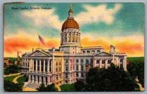 Postcard Atlanta GA c1940s State Capitol Building Linen