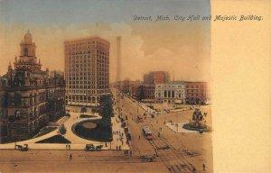 DETROIT, MI City Hall & Majestic Building Hand-Colored c1900s Vintage Postcard
