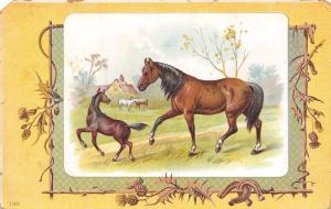 Art Nouveau~Victorian~Bay Horse & Playful Pony~Rope~Good Luck Horseshoes c1906