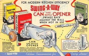 Advertising Post Card Swing a Way Can Opener Chicago, IL, USA Postal Used Unk...