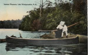LAKE WINNIPESAUKEE, New Hampshire , PU-1911; Summer Pleasures, Couple, canoe