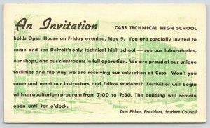 Detroit MI~Cass Technical High School Open House~Dan Fisher Pres~c1951 Postal