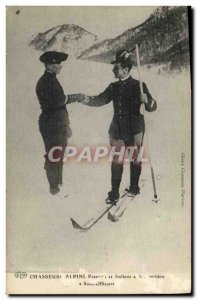 Old Postcard Militaria Alpine Hunters French and Italians at the border under...