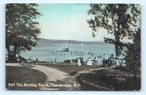Postcard NY Chautauqua The Bathing Beach at Lake 1912 View R70