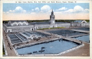 Chicago IL - Union Station, Post Office, and North Western Depot, 1920s